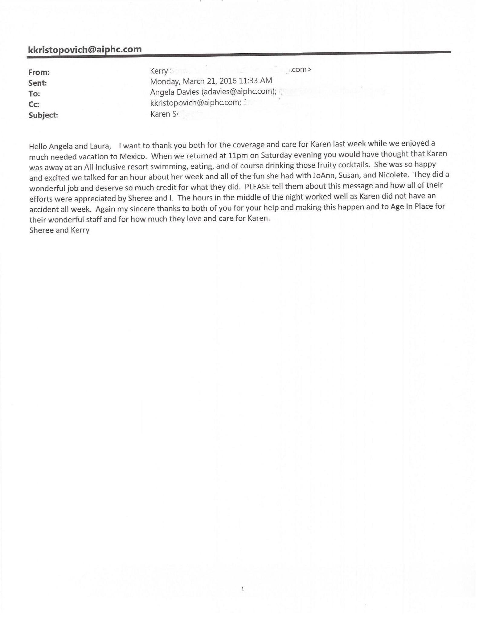 Kerry - AIPHC Testimonial